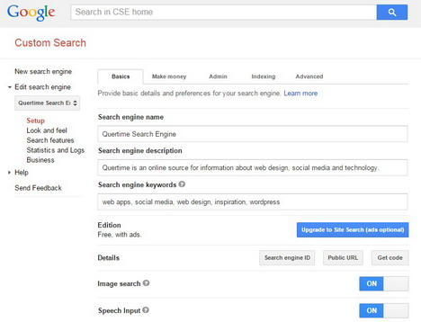 google-custom-search-settings