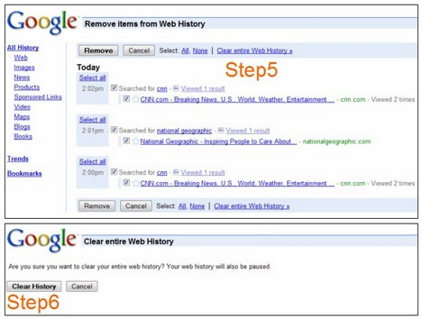 how to erase search: