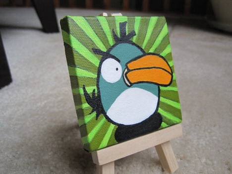 miniature_green_bird_painting