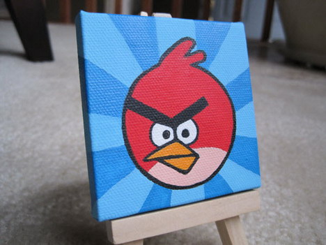 miniature_red_bird_painting