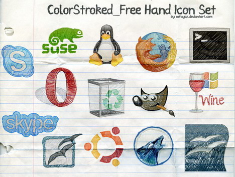 colorstroked_free_hand_icon_set