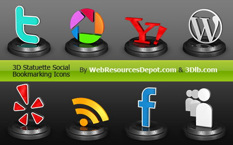 exclusive_3d_statuette_social_bookmarking_icons