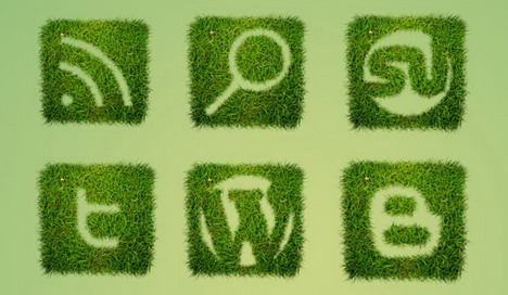 free_grass_textured_social_bookmarking_icon_set