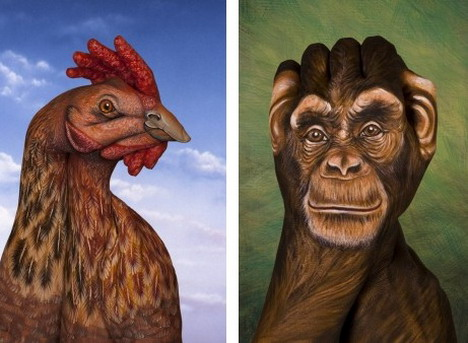chicken_and_chimpanzee_best_animal_hand_painting