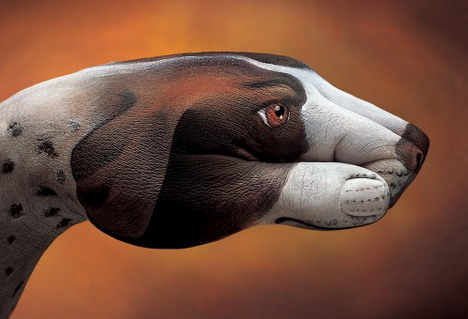 dog_pointer_on_brown_best_animal_hand_painting