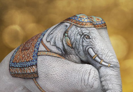 elephant_white_on_gold_best_animal_hand_painting