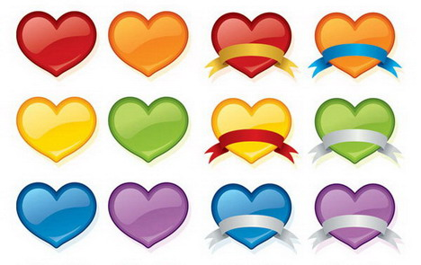 peach_color_crystal_heart_icon_vector_material