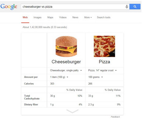 google-nutrition-comparison-search