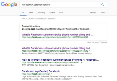 facebook-customer-service-scam